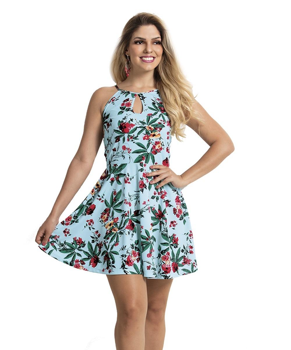 9d1fede3bb vestido estampado floral azul curto basico rodado. Carregando zoom.