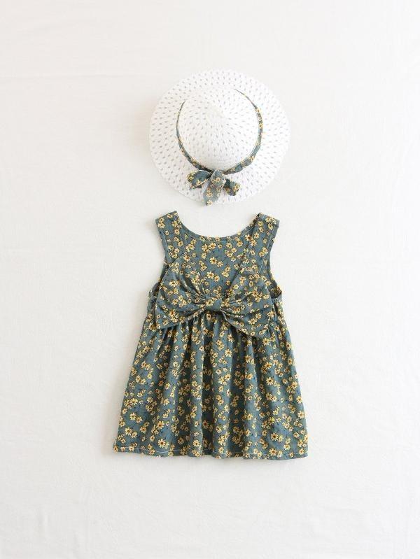 Vestido Estampado Floral Con Sombrero Para Niña M119 -   590.00 en ... 5ed6f2381de