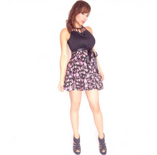 vestido estampado flores sarab / negro-fucsia