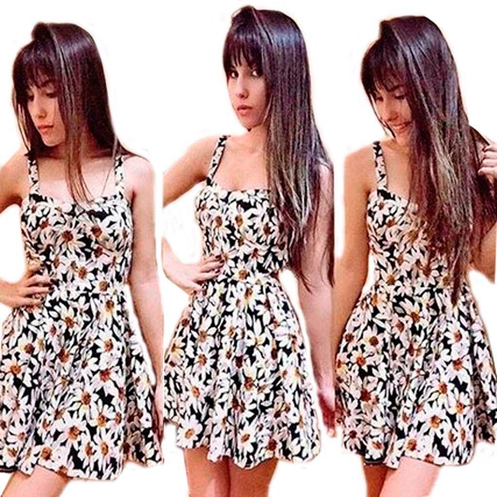 537a89f34d vestido estampado florido curto basico de alcinha floral. Carregando zoom.