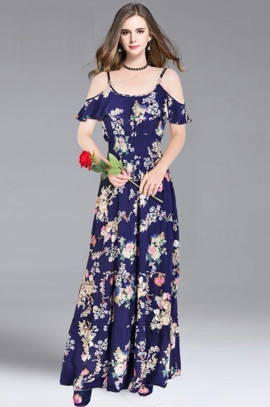 206b14019 Vestido Estampado Longo Ciganinha Viscose Floral - R$ 70,00 em ...