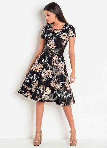 vestido estampado moda evangélica midi festa preto florido