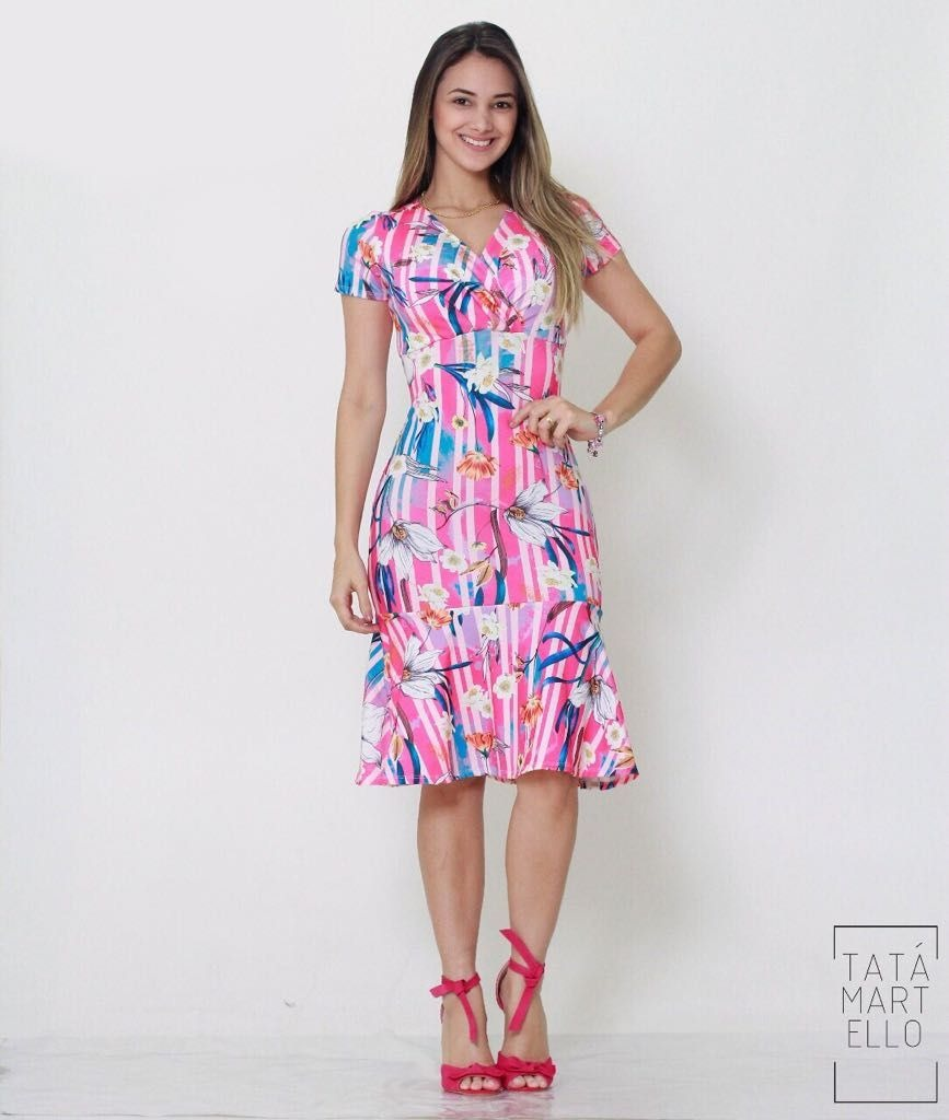 86f2d94ea Vestido Estampado Tata Martello - R$ 104,39 em Mercado Livre