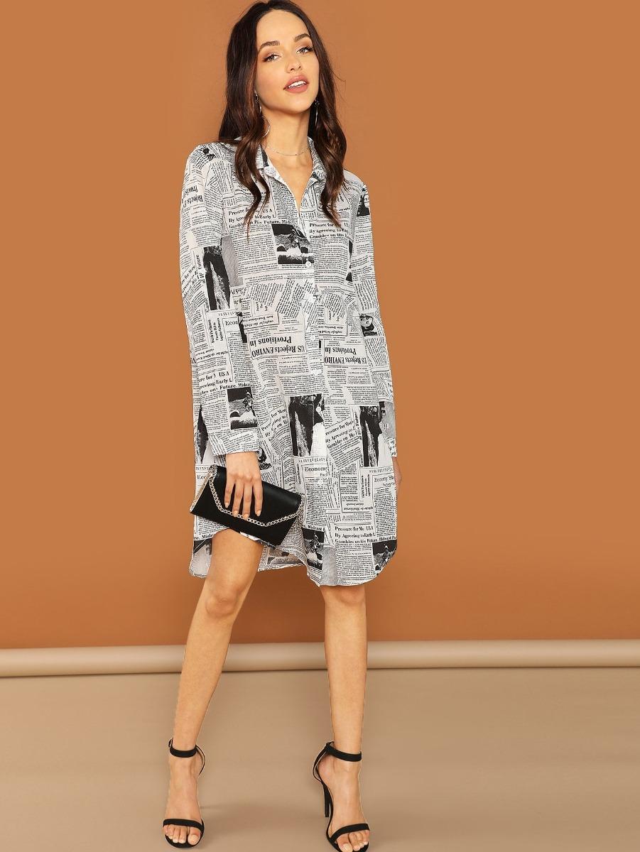 Vestido Estilo Blusa Con Estampado De Periódico