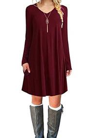 Larga Co Informal Vestido Estilo Suelto Camiseta Manga Calce gbf7yYv6