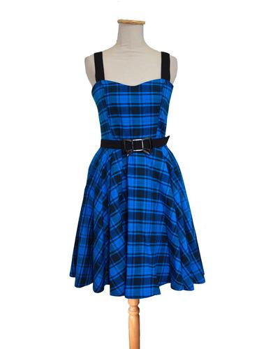 vestido  estilo pin up escocés azul negro retro vintage