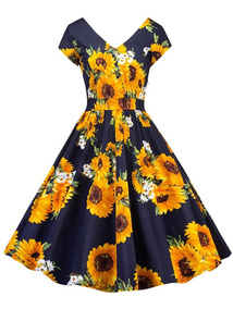 Vestido Estilo Pin Up Y Retro Con Estampado Dgirasoles