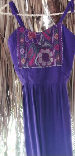vestido étnico estilizado morado  hilo plata telar cintura