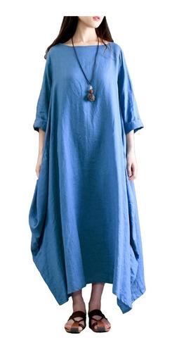 vestido etnico largo suelto con bolsillos  hippie