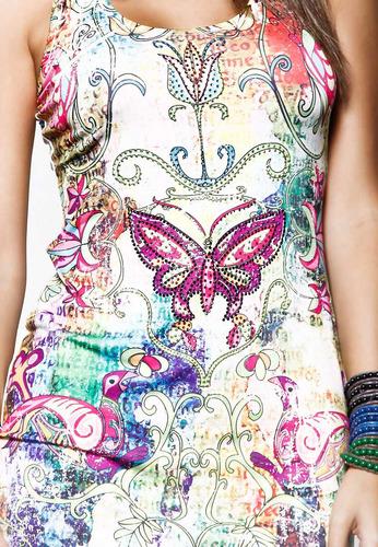 vestido eua  detalhes em pedras estilo ed hardy - ref. 1010