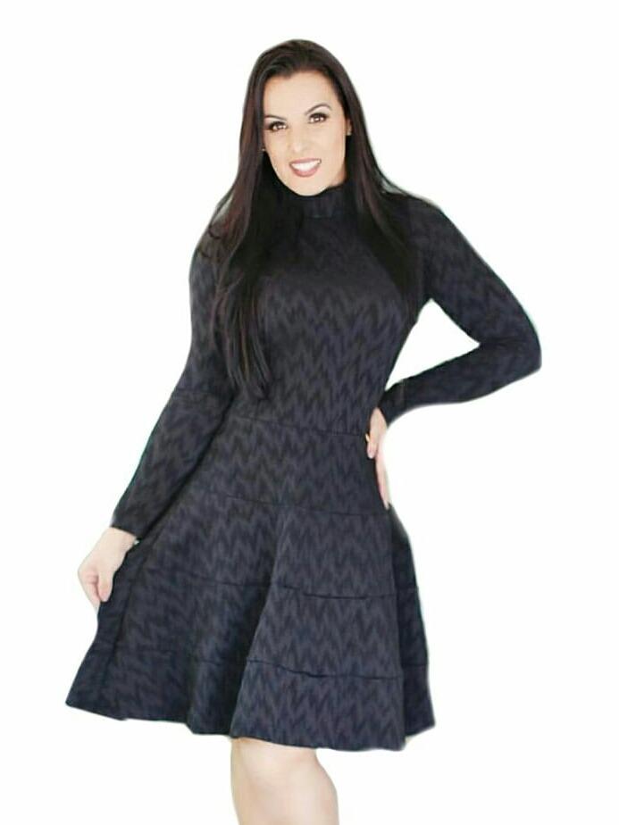 357b39587d vestido evangelico em jacquard gola alta e manga longa. Carregando zoom.