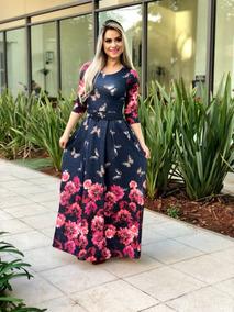 dfaa18a8c243 Vestido Com Mangas 7/8 - Vestidos Femeninos com o Melhores Preços no  Mercado Livre Brasil