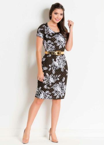 vestido evangélico midi tubinho preto florido para festa