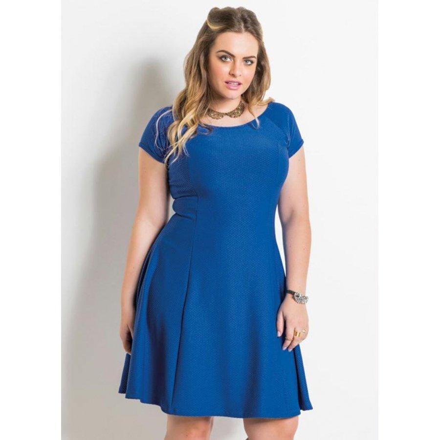 d2c9b359d1ed9f Vestido Evasê Azul Plus Size Quintess