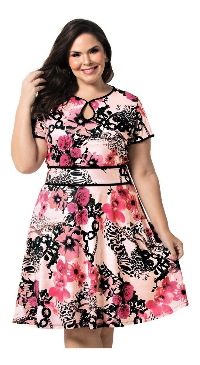 3bb2c45ed Vestido Evasê Estampado Floral M, G, Gg, Eg, Xg - R$ 89,00 em ...