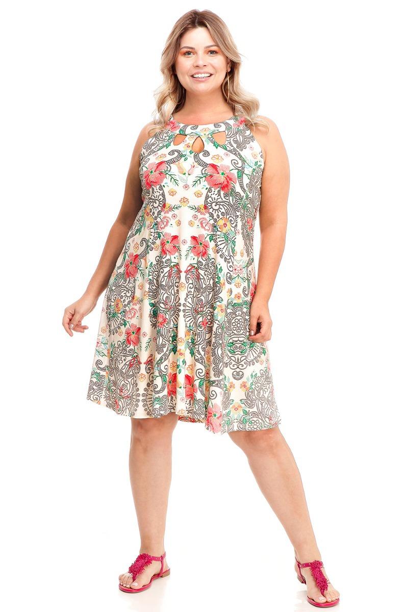 546e3f8d0 Vestido Evasê Estampado Verão Plus Size 46 48 50 52 54 - R  179