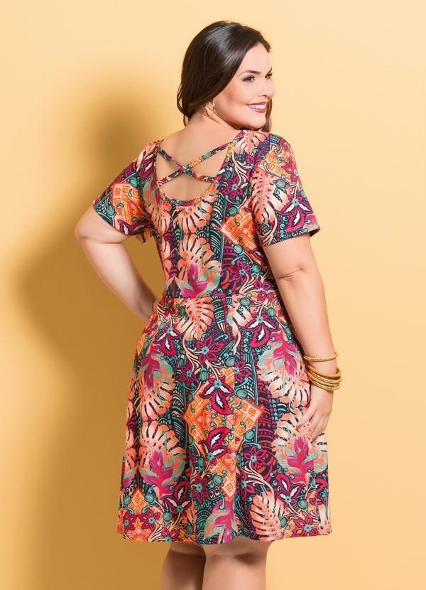 e1cfd1a21ac9 Vestido Evasê Marguerite Mix Floral Plus Size - R$ 89,90 em Mercado ...