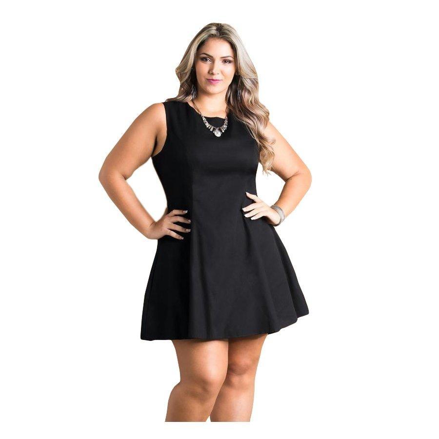 7db37a20867773 Vestido Evasê Preto Quintess Plus Size