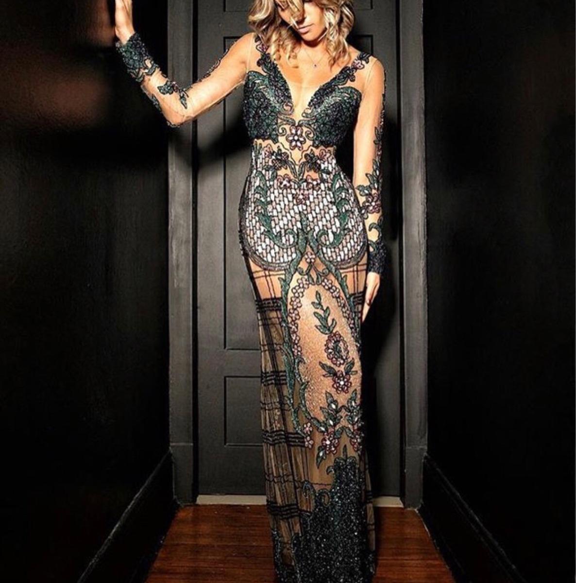 a6d77a5be Vestido Fabiana Milazzo Bordado Manga Longa - R$ 6.500,00 em Mercado ...