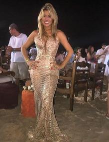 d6079fb3bf Vestido Agilita Dourado - Calçados