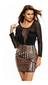f4408ea08 Vestido Falda Lentejuela Blusa Negra Sexy De Noche Elegante
