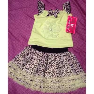 vestido falda tutu tull top animal print princesa bebe c179