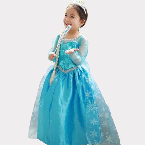 vestido fantasia frozen elsa princesa infantil