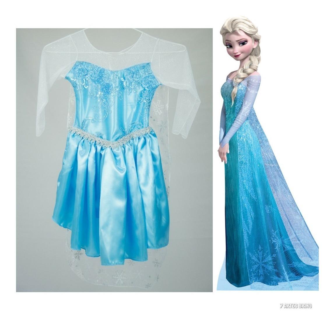 Vestido Fantasia Frozen Festa Infantil Princesa Elsa Anna