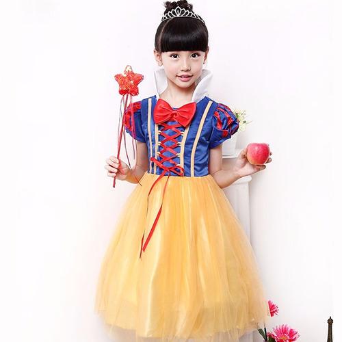 vestido fantasia infantil branca de neve + boneca em + frete