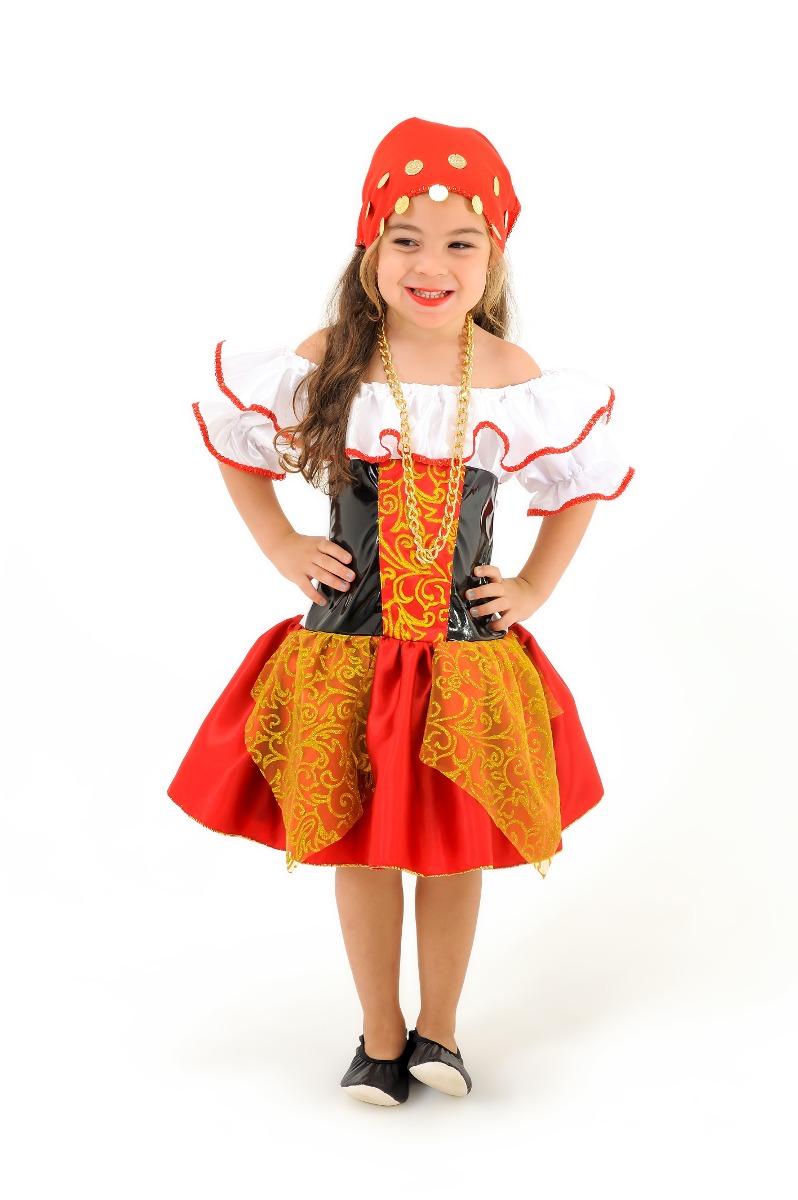 6c51c10d93850b Vestido Fantasia Infantil Ciganinha Luxo Com Frete Grátis