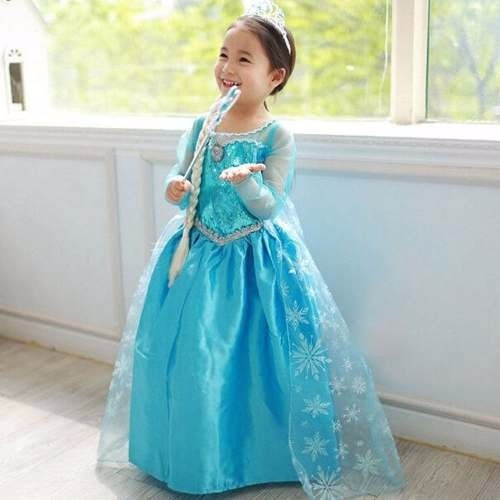 vestido fantasia infantil frozen elsa c/ coroa e trança kit