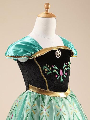 vestido fantasia infantil frozen princesa anna