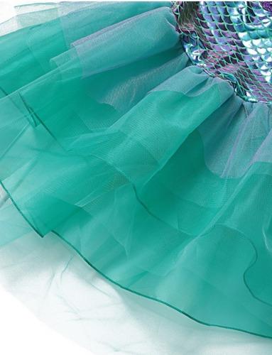 vestido fantasia infantil sereia lilás verde-água com peruca