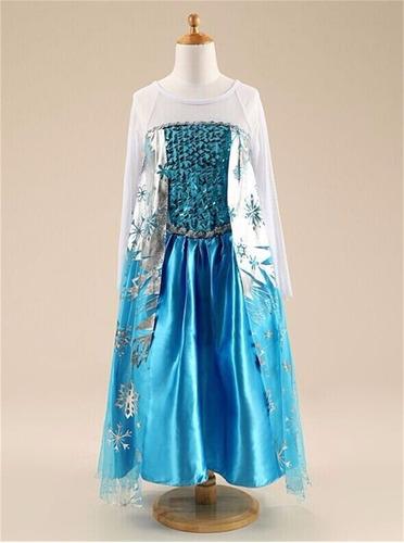 vestido fantasia luxo infantil frozen rainha elsa + coroa
