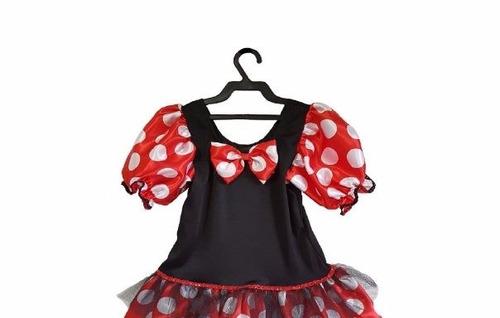 vestido fantasia minnie bolinhas menina festas aniversário