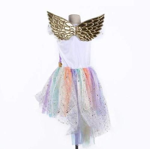 vestido fantasia unicórnio p/ festa infantil + chifre + asas
