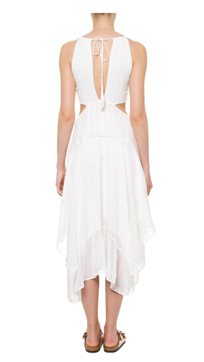 cbb91edb83 vestido farm rodado branco com listras douradas. Carregando zoom.