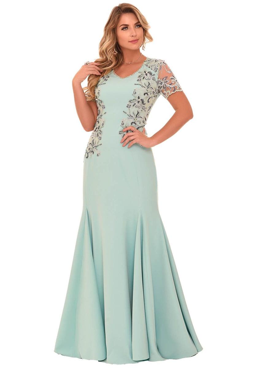 5196e4246 Vestido Fascinius Caline Verde Moda Evangélica - R$ 421,13 em ...