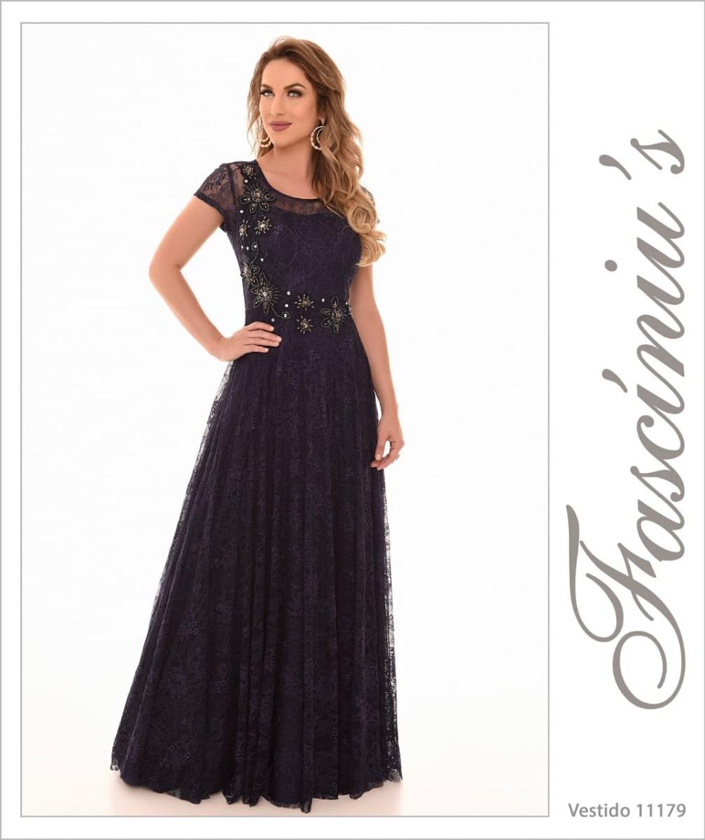 e9c9d26f2 Vestido Fasciniu's Fascinius Longo Rendado Roupas Femininas - R$ 599 ...