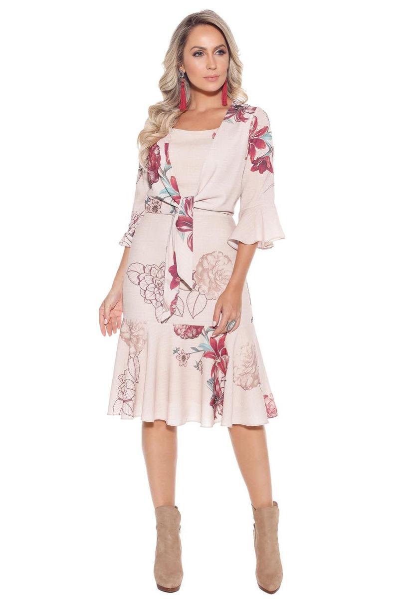 3a7097f60160 Vestido Fascínius Gabriele Bege Moda Evangélica - R$ 319,42 em ...