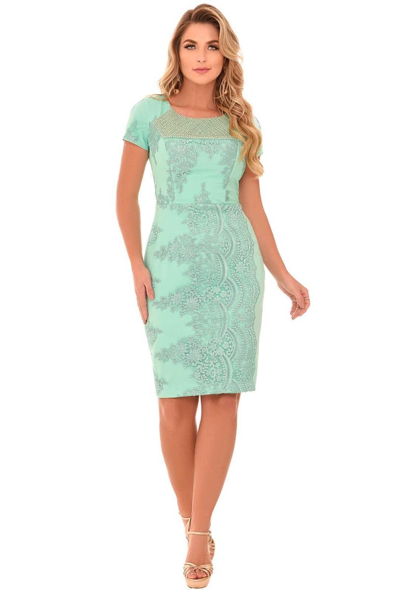 1166d66be Vestido Fascinius Lux Verde Moda Eangélica - R$ 350,93 em Mercado Livre