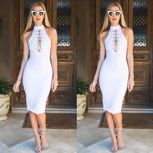 vestido fashion blanco estilo fourreau escote sexy cordon //
