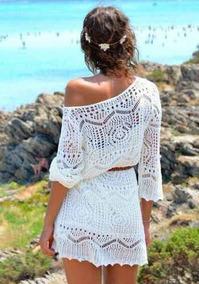 Vestido Fashion Corto Crochet Tejido Verano Party Disponible