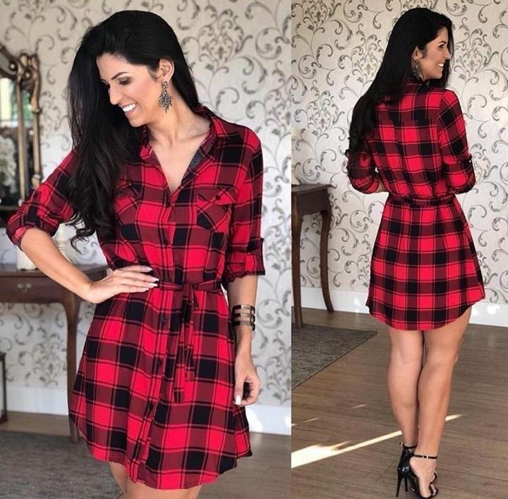 6c6c3f241 Vestido Feminina Xadrez Laço Camisão Moda Chemise 2018 - R  65