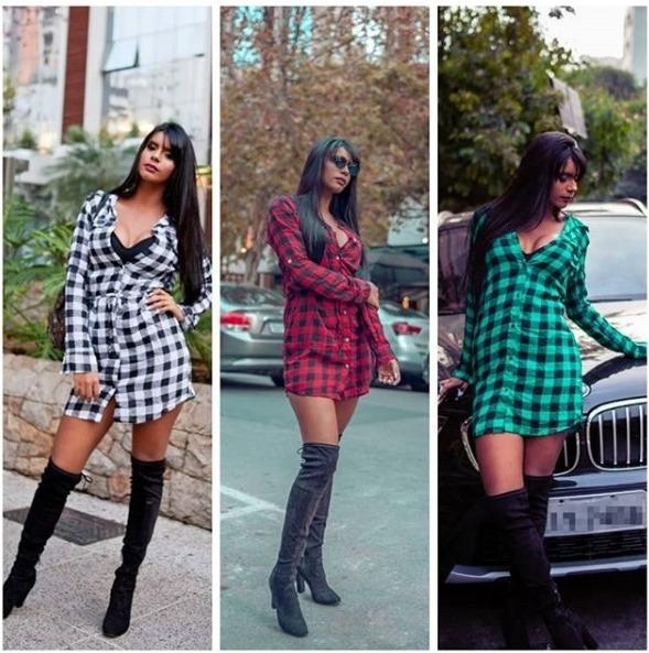 4563d8f0a Vestido Feminina Xadrez Laço Camisão Moda Chemise - R  55
