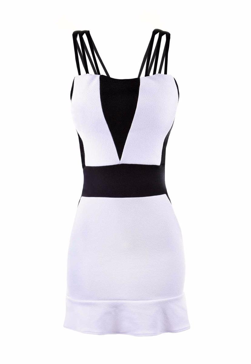 Vestido feminino preto e branco