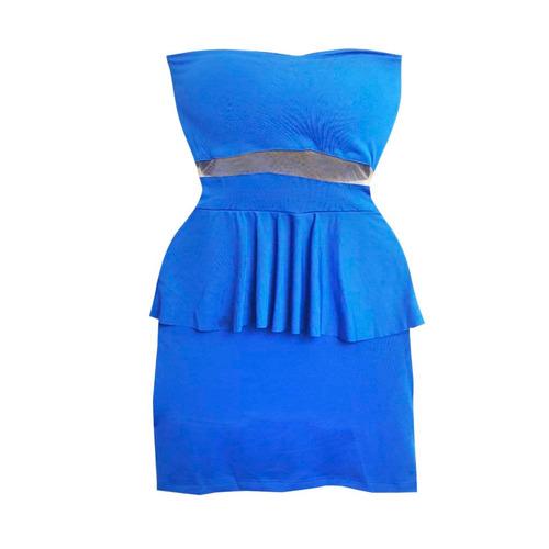 vestido feminino azul peplum tomara que caia com babado