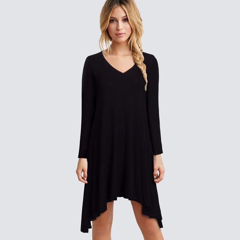 af40eec87a vestido feminino basico com pontas manga longa preto courage. Carregando  zoom.