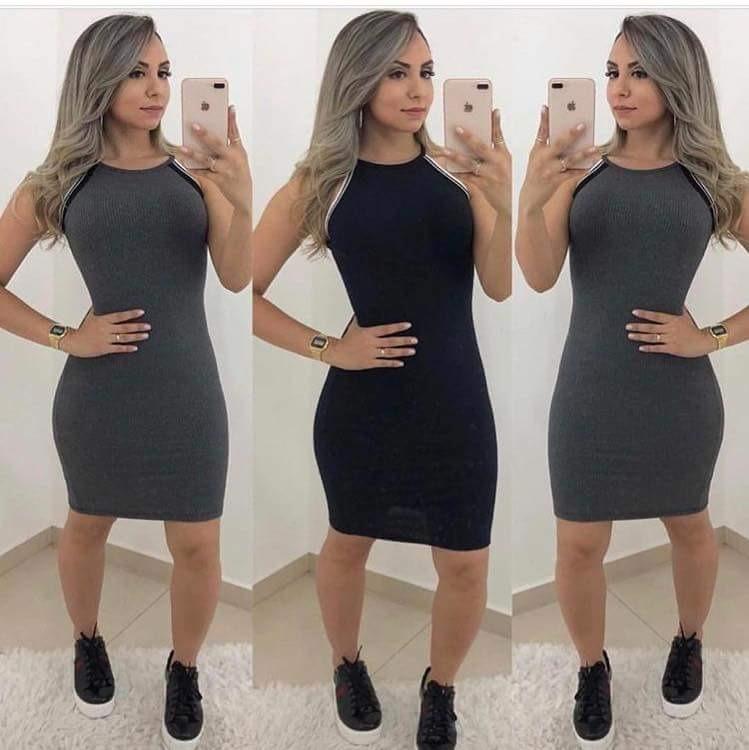 8ee0f06cbaf6 Vestido Feminino Canelado Alcinha Listras Moda Instagram - R$ 33,90 ...
