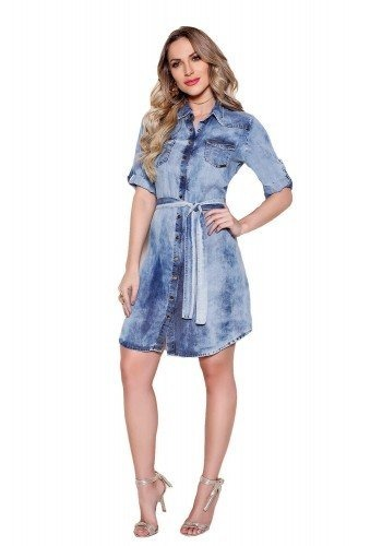 e64864129 Vestido Feminino Chemisier Jeans Midi Azul Titanium Ttn23864 - R ...